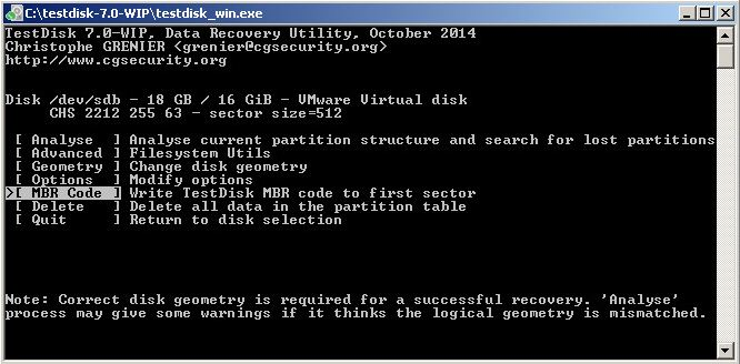 Test disk write a new copy of mbr codes