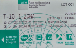 T10 metro card barcelona