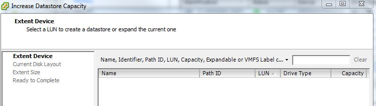 Cannot extend VMware datastore as available unused space is not listed