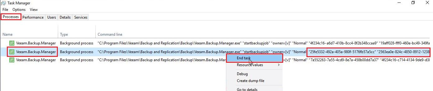 terminate dedicated veeam job stuck in stopping status