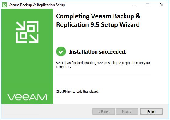 Installation succeeded for Veeam Update 4