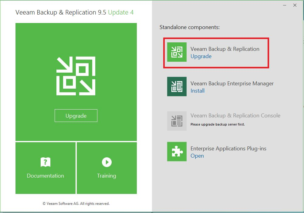 upgrade veeam backup and replication to update 4