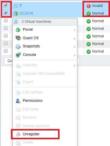 remove invalid vm from webclient vmware esxi